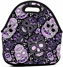 Yuanmeiju Sugar Skulls Purple Black Floral Prints