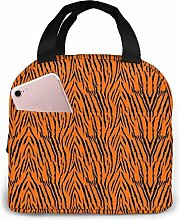 Yuanmeiju Tiger Stripes Orange Pattern Lunch Bag