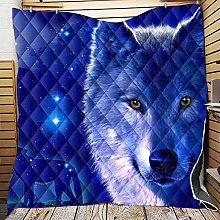 YUANOMWJ 3D Quilted Blanket,Dark Blue Starry Wolf