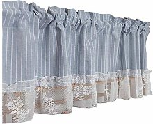YUANP Coffee Curtain Short,with Stripes Lace