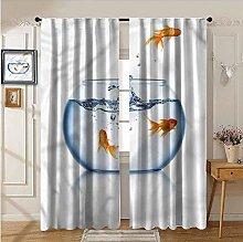 YUAZHOQI Rod Pocket Curtains, Aquarium,Freedom