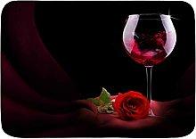 YUDILINSA Bath Mat Non-slip Red Wine Rose Romance