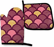 YudoHong Gold Glitter Fish Scale Oven Mitts and