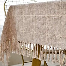 YUESFZ Solid Color Tassel Tablecloth,washable