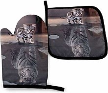yui7 Cat Tiger Oven Mitts and Pot Holders Sets