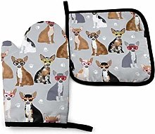 yui7 Chihuahua Dog Glasses Oven Mitts and Pot