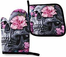 yui7 Fashion Skull Flower Oven Mitt and Pot