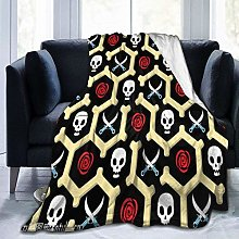 yui7 Knife Skull Rose Flannel Fleece Slow Blanket
