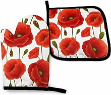 yui7 Oven Mitts and Pot Holders Set,Red Poppy Heat