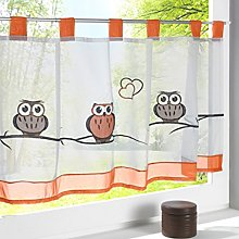 Yujiao Mao 1Pc OWL Embroidered Cafe Curtain Short