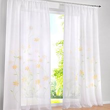 Yujiao Mao Pack of 1 Voile Curtains Flowers