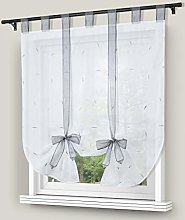 Yujiao Mao Voile Embroidery Tie Curtain with Loops