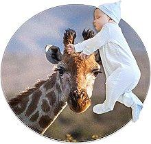 Yumansis animal giraffe Bedroom Rug Soft Round