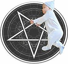 Yumansis Black White Pentagram Bedroom Rug Soft