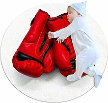Yumansis Boxing Gloves Bedroom Rug Soft Round