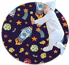 Yumansis Cartoon Star Rocket Bedroom Rug Soft