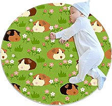 Yumansis cute Guinea Pig Bedroom Rug Soft Round