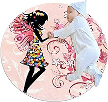 Yumansis Flower Butterfly Fairy Girl Bedroom Rug