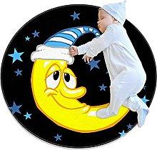 Yumansis Moon Cartoon Bedroom Rug Soft Round