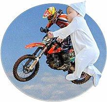 Yumansis Motocross Bedroom Rug Soft Round Non-slip