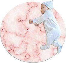 Yumansis Pink Marble Bedroom Rug Soft Round