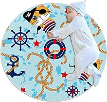 Yumansis Pirate Cat Bedroom Rug Soft Round