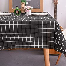 YUMUO Checkered Rectangle Tablecloth,Cotton Linen