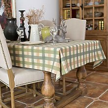 YUMUO Rectangle Lattice Table Cover,Cotton Linen