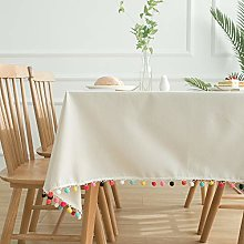 YUMUO Rectangle Table Cover,Cotton Linen Solid