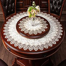 YUMUO Round Lace Table Cover,White Lace