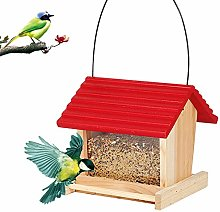 YUNSHAO Bird Feeder, Wooden House Bird Feeder