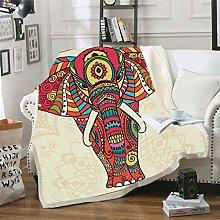 YUNSW 3D Digital Bohemian Elephant Print Blanket,