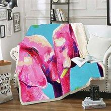 YUNSW 3D Digital Elephant Print Blanket, Super