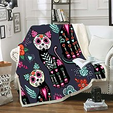 YUNSW Halloween Scary Cat 3D Sofa Blanket, Easy To