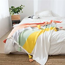 YUNSW Knitted Rainbow Blanket, Cute Tassel Home