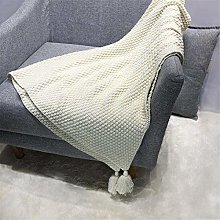 YUNSW Pure Color Knitted Blanket, Knitted Blanket