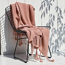 YUNSW Pure Colored Knitted Blanket, Tassel Weave