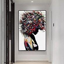yunxiao Art print Black Woman Graffiti Art Canvas