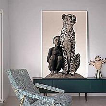 yunxiao Art print Boy and A Cheetah Canvas