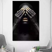 yunxiao Art print HD Print Black and Gold Woman