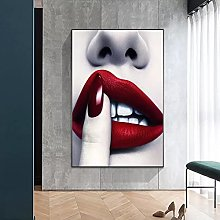 yunxiao Art print Red Lips Canvas Painting Nordic