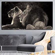 yunxiao Art print Two Black Lion Wild Animals