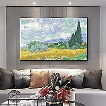 yunxiao Art print Wheatfield with Cypresses Canvas
