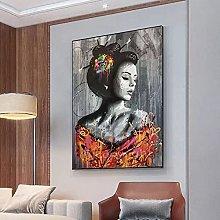 yunxiao Art print Woman Graffiti Art Canvas