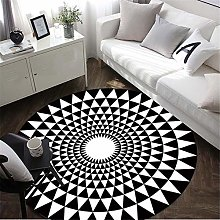 YuYzHanG Rugs Black And White Living Room Round