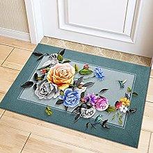 YUZE 40x60 cm Flowers Printed Carpet Rug for