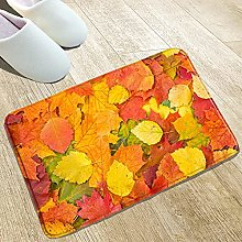 YUZE 40x60 cm Washable Flannel Rug with Red Maple