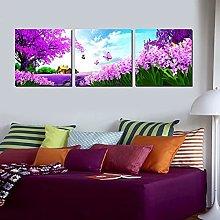 YUZE Black and white print 3pcs Purple Flowers Oil