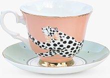 Yvonne Ellen Cheetah Cup & Saucer, 280ml, Multi