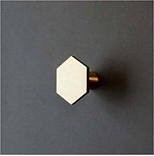 YWF Handles 10 Hexagonal Brass Handles, Wardrobe